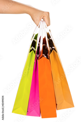 Photo Stands Shopping paper bags isolated on white background