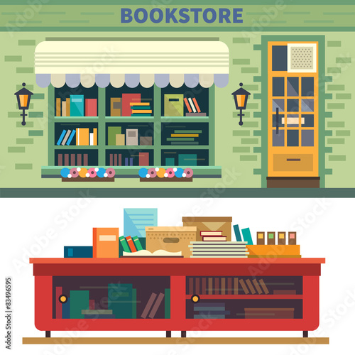 Cadres-photo bureau Cartoon voitures Storefront and a shelf with books.