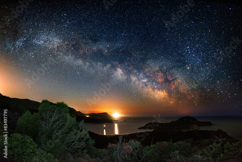 Photo Stands Night Milky way on over the Malfatano Cape