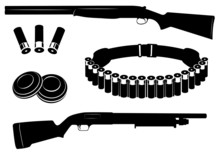 Set Of Vector Shotgun And Hunting Equipment