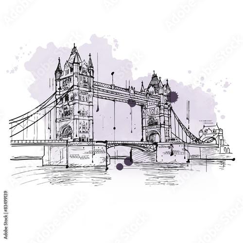 Fotobehang Art Studio Artistic sketch of the Tower Bridge, London