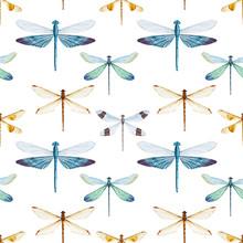 Watercolor Dragonflies Pattern