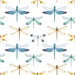 FototapetaWatercolor dragonflies pattern