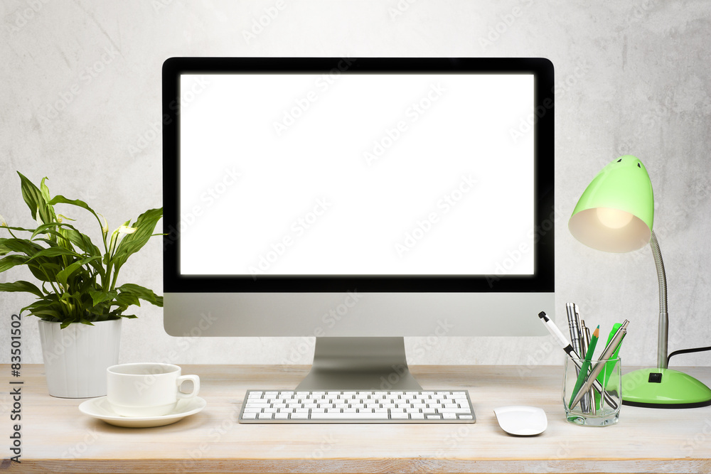 Fototapeta Workspace background with desktop pc and office accessories