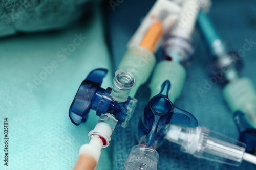 Valokuva  Medical catheters on tissue in a hospital close-up