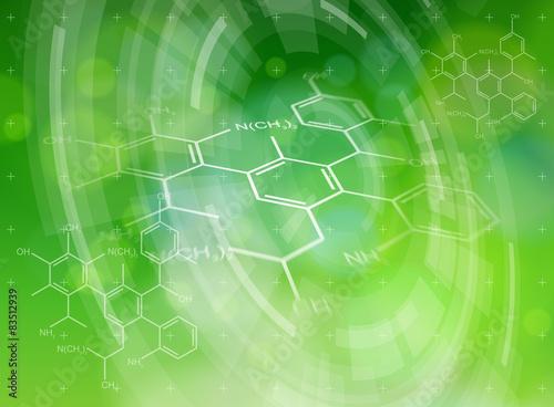 Fotografia  chemical formulas, radial HUD elements & green bokeh