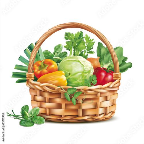 Fotografija  Basket with vegetables isolated on white. Vector illustration.