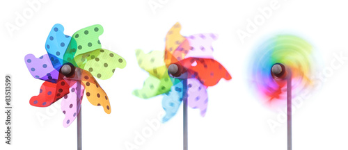 Fotografia, Obraz  Colorful pinwheels on white background