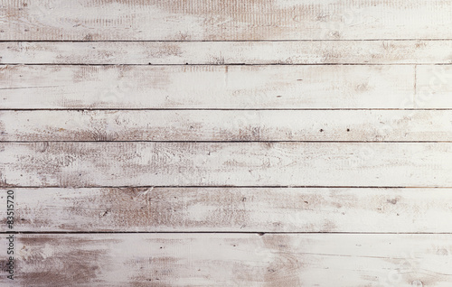 Fotografia, Obraz  White wooden boards with texture as background