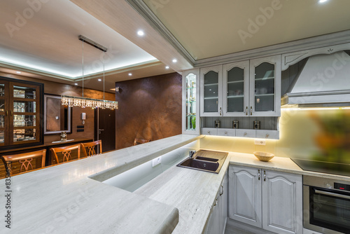 Work Surfaces Modern Kitchen Interior Buy This Stock Photo And