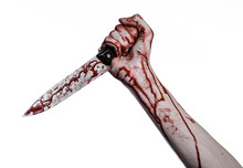 Bloody Hand Holding A Knife, A Large Bloody Knife, Bloody Theme