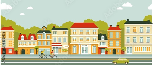 Foto op Canvas Lichtblauw City panorama street background in flat style