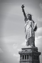 Statue Of Liberty. Black And White.