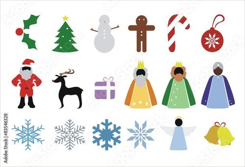 Tela  iconos navideños y de invierno