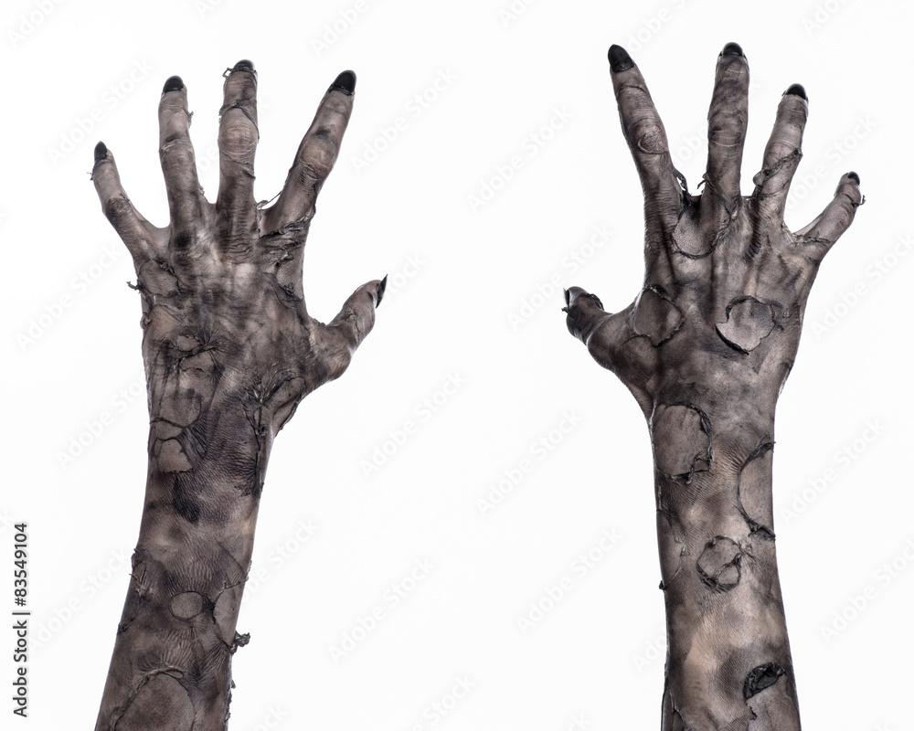 Fototapeta black hand of death, walking dead, zombie theme,  zombie hands