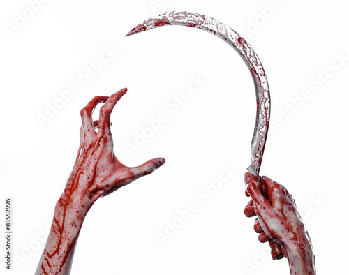 bloody hand holding a sickle, sickle bloody, bloody scythe - Buy