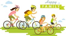Happy Family Riding Bikes Isolated On White Background In Flat