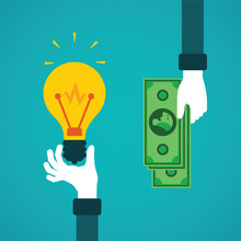 Crowdfunding Or Idea For Money Vector Concept In Flat Style