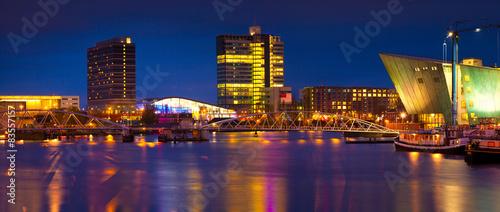 Poster Amsterdam Beautiful calm night view of Amsterdam city.