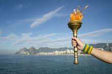 Hand Holding Sport Torch Rio De Janeiro
