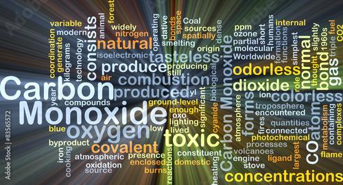 Carbon monoxide background concept glowing Canvas-taulu