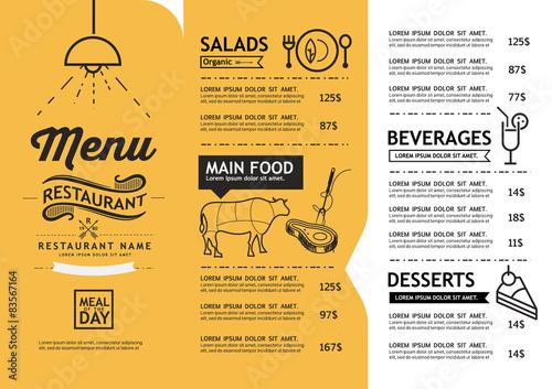 Fotografia hipster and vintage art restaurant menu design template.
