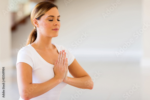 woman doing yoga meditation Poster