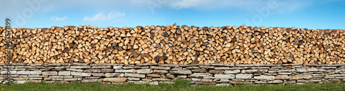 Poster Brandhout textuur firewood panorama