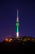 Seoul tower at night.Namsan Mountain in korea
