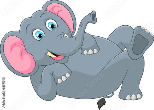 Poster de jardin Zoo Funny elephant cartoon