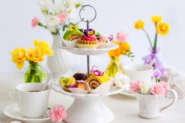 Panel Szklany Podświetlane Do herbaciarni cakes for afternoon tea.