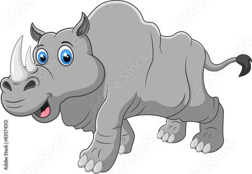 Poster de jardin Zoo Cartoon rhino