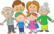 Complete family care illustration of parents with children