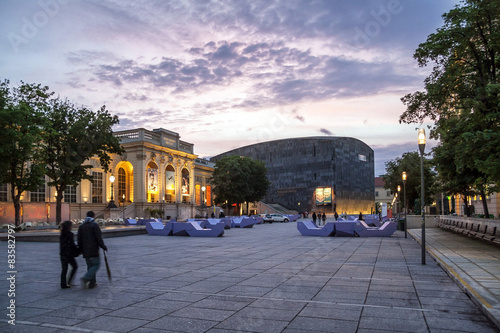 Photo  Dusk at the Museumsquartier of the city of Vienna - Austria