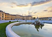 Front Of The Schönbrunn Palace In Vienna At Sunset - Austria.