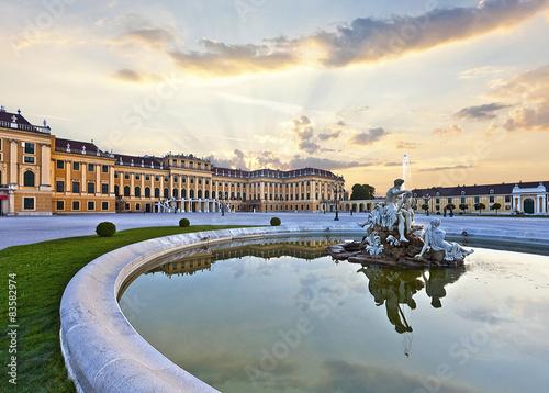 Garden Poster Vienna Front of the Schönbrunn Palace in Vienna at sunset - Austria.