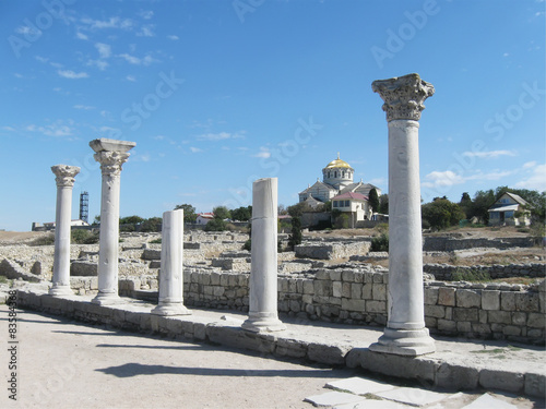 Fotografia  Chersonese, columns of Basilica 1935 (VI-X c.),  Crimea