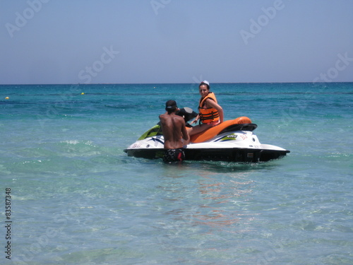 Foto op Plexiglas Water Motor sporten 2 people on jet skis