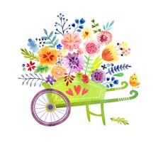 Gardening. Wheelbarrow With Flowers Cute Watercolor Card