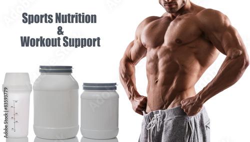 Fotografie, Obraz  Muscular male torso and food supplements