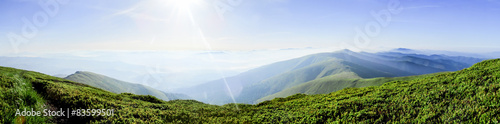 Garden Poster White Panoramic mountain landscape