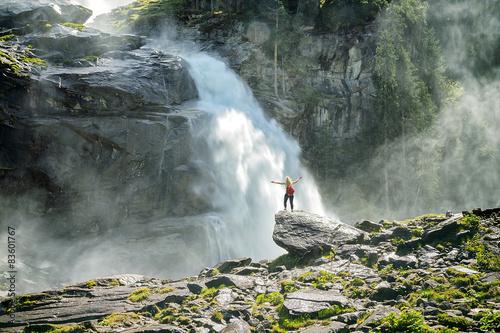 Foto op Canvas Watervallen Krimmler Wasserfall