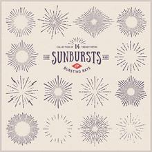 Set Of Hand Drawn Retro Sunbursts/bursting Rays