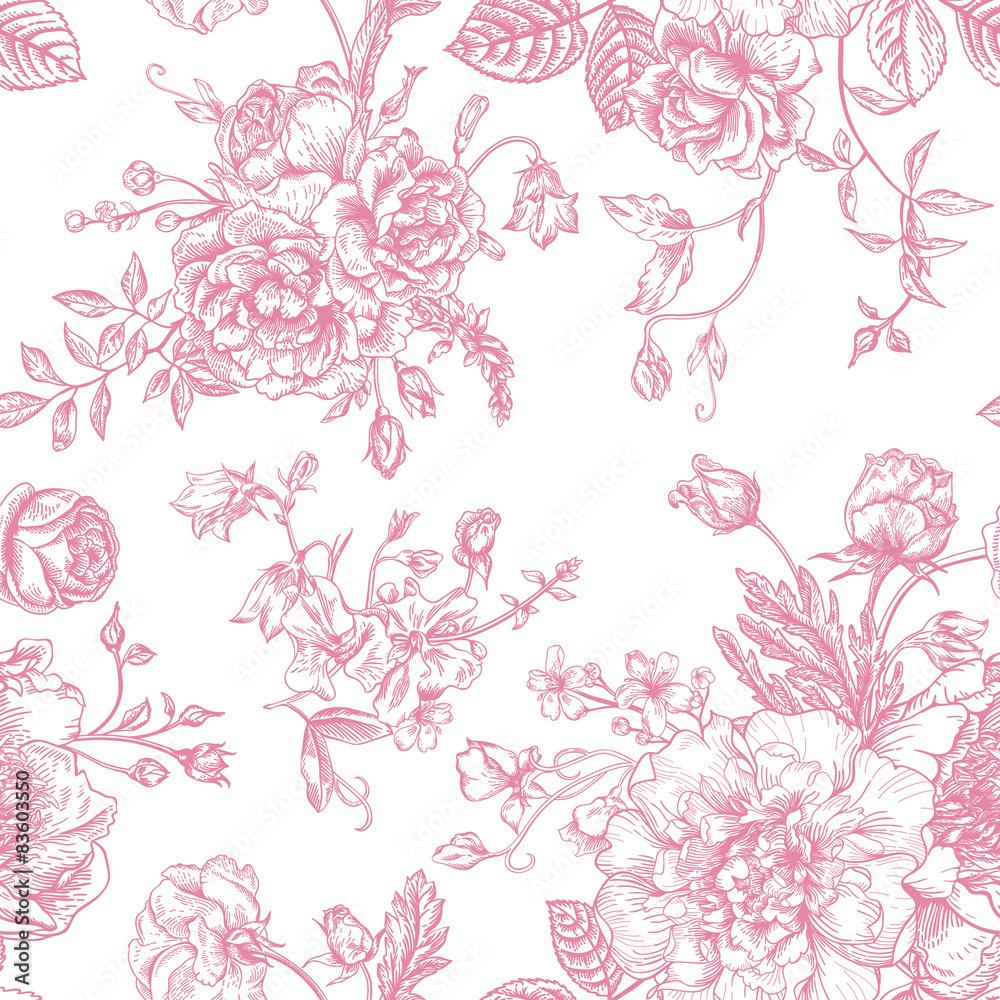 Foto-Lamellen (Lamellen ohne Schiene) - Seamless  pattern with bouquet of  flowers.