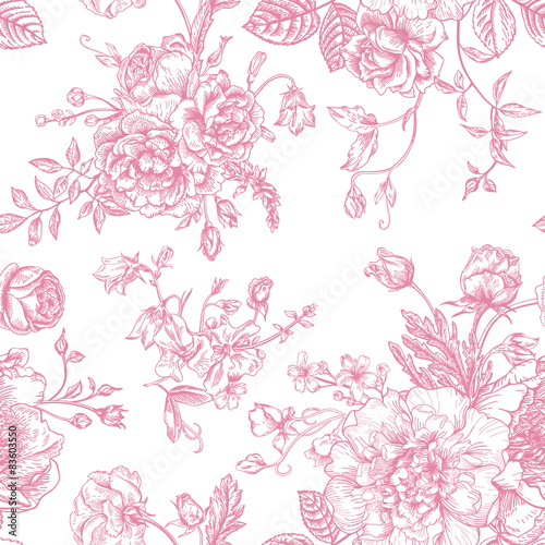 Foto-Rollo - Seamless  pattern with bouquet of  flowers. (von Lisla)
