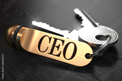 Photo  CEO - Bunch of Keys with Text on Golden Keychain.