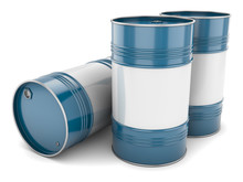 Group Of Blue Steel Barrels