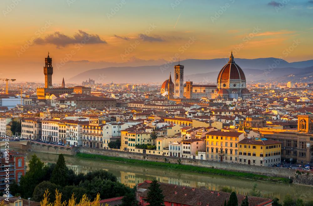 Fototapety, obrazy: Zachód słońca, widok Florencji, Toskania, Włochy