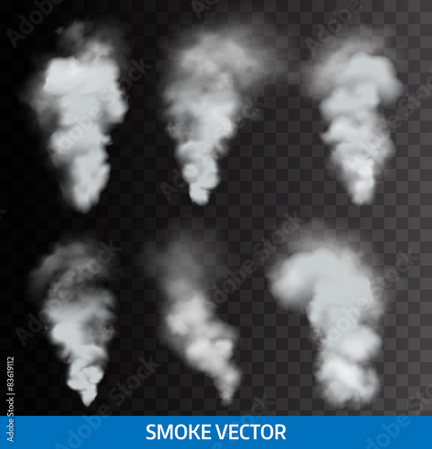 Foto op Plexiglas Rook Realistic transparent smoke, steam. Vector