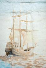 Graffiti Wall By An Unidentified Artist With Sea Vessel